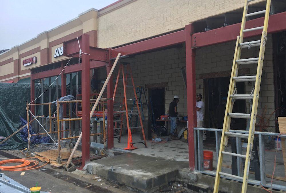 New entrance, bar skeleton